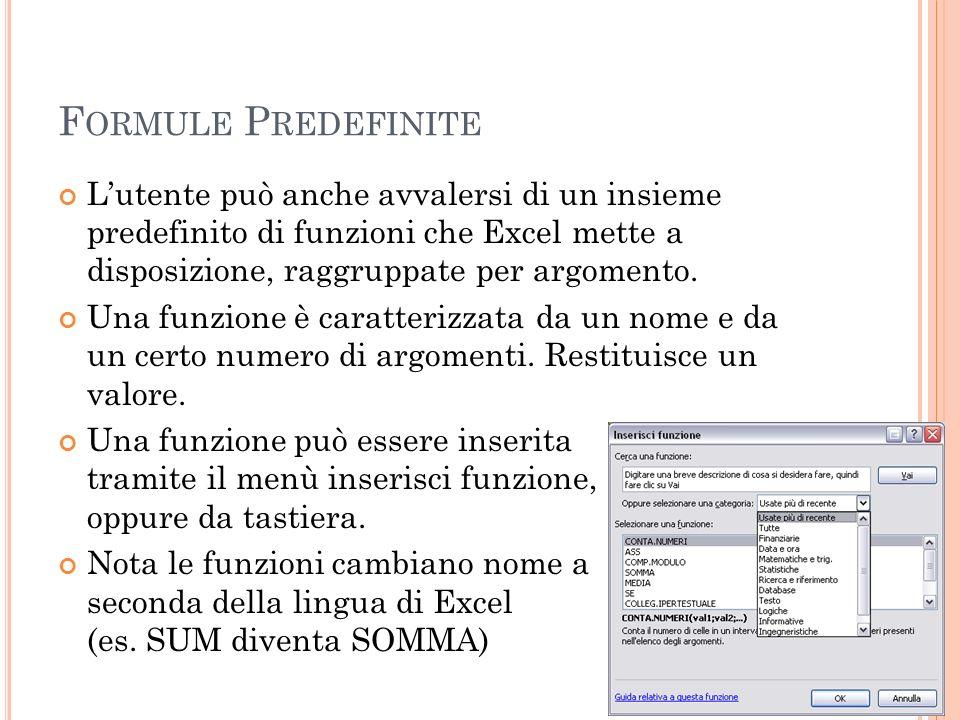 F ORMULE P REDEFINITE Lutente può anche avvalersi di un insieme predefinito di funzioni che Excel mette a disposizione, raggruppate per argomento. Una