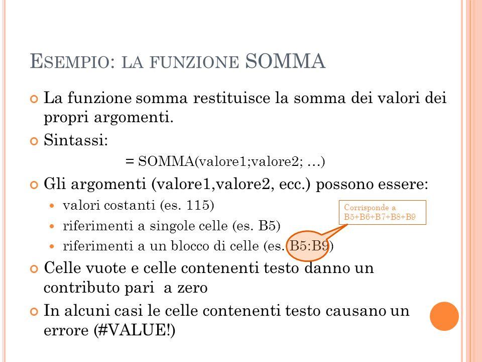 E SEMPIO : LA FUNZIONE SOMMA La funzione somma restituisce la somma dei valori dei propri argomenti. Sintassi: = SOMMA(valore1;valore2; …) Gli argomen