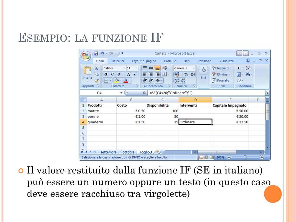 E SEMPIO : LA FUNZIONE IF Il valore restituito dalla funzione IF (SE in italiano) può essere un numero oppure un testo (in questo caso deve essere rac