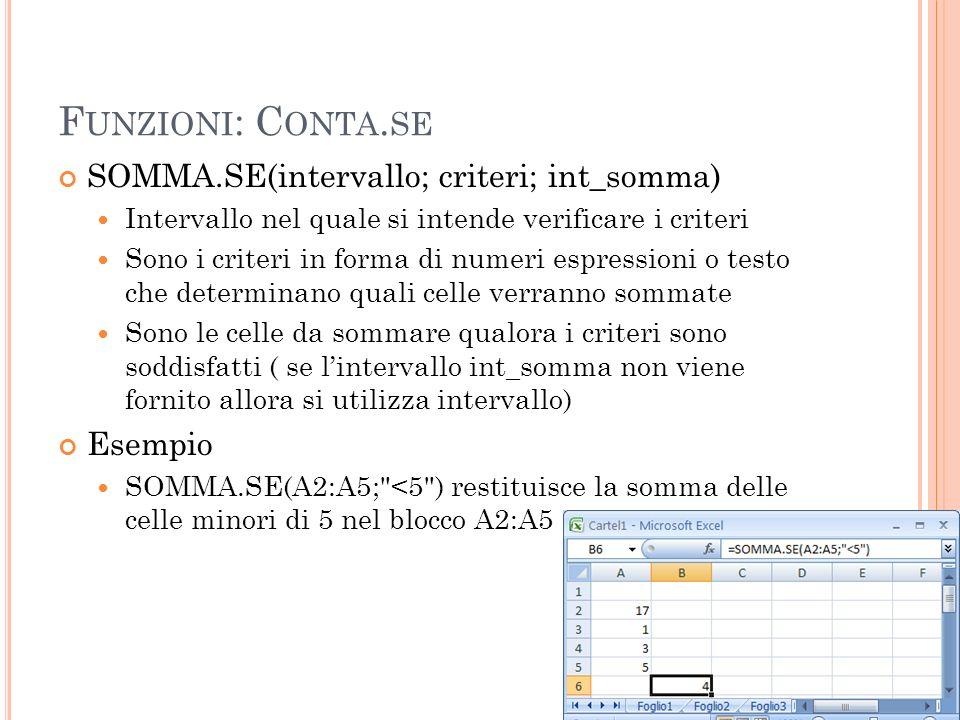 F UNZIONI : C ONTA. SE SOMMA.SE(intervallo; criteri; int_somma) Intervallo nel quale si intende verificare i criteri Sono i criteri in forma di numeri
