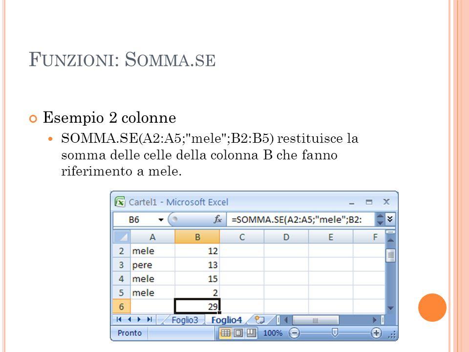 F UNZIONI : S OMMA. SE Esempio 2 colonne SOMMA.SE(A2:A5;