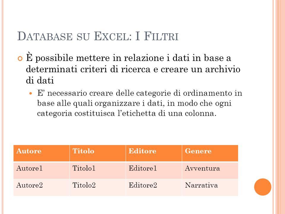 D ATABASE SU E XCEL : I F ILTRI È possibile mettere in relazione i dati in base a determinati criteri di ricerca e creare un archivio di dati E necess