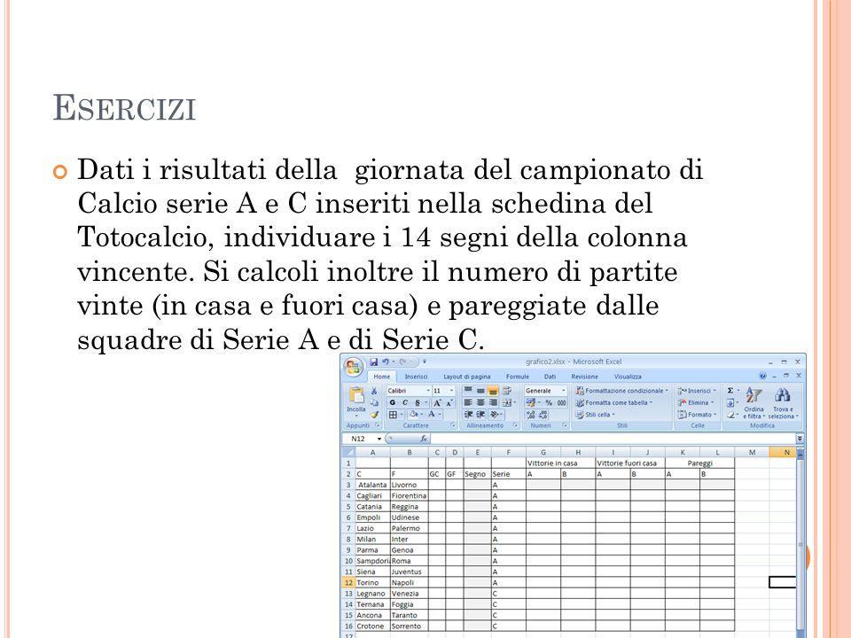 E SERCIZI Dati i risultati della giornata del campionato di Calcio serie A e C inseriti nella schedina del Totocalcio, individuare i 14 segni della co