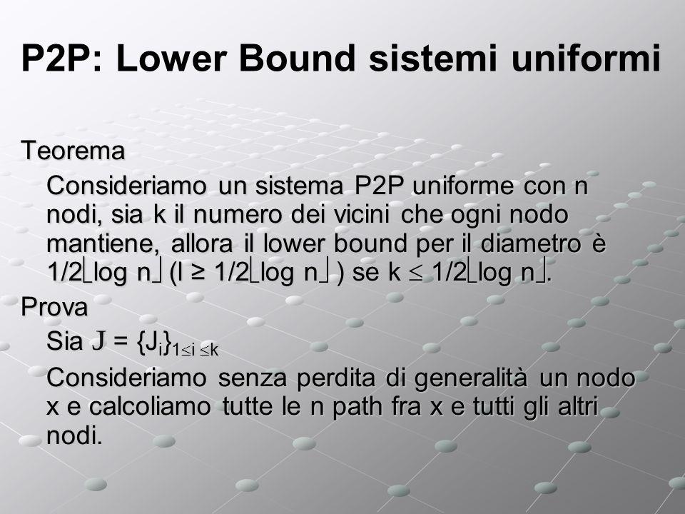 P2P: Lower Bound sistemi uniformi Teorema Consideriamo un sistema P2P uniforme con n nodi, sia k il numero dei vicini che ogni nodo mantiene, allora il lower bound per il diametro è 1/2 log n (l 1/2 log n ) se k 1/2 log n.