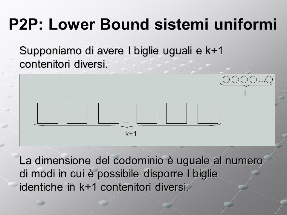 P2P: Lower Bound sistemi uniformi Supponiamo di avere l biglie uguali e k+1 contenitori diversi.