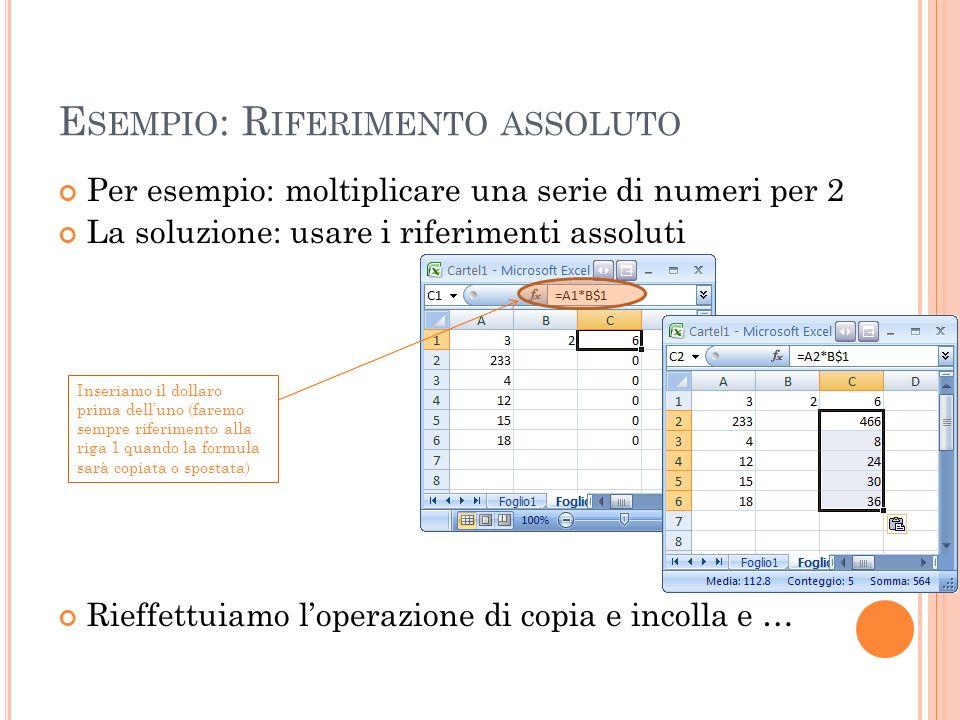 E SEMPIO : R IFERIMENTO ASSOLUTO Per esempio: moltiplicare una serie di numeri per 2 La soluzione: usare i riferimenti assoluti Rieffettuiamo loperazi