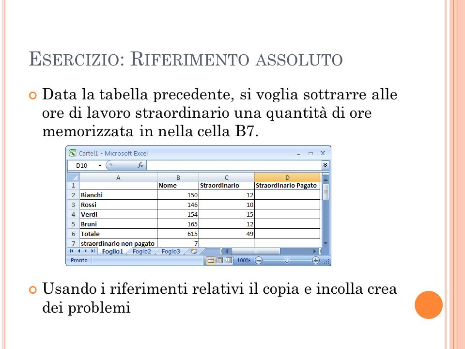 E SERCIZIO : R IFERIMENTO ASSOLUTO Data la tabella precedente, si voglia sottrarre alle ore di lavoro straordinario una quantità di ore memorizzata in