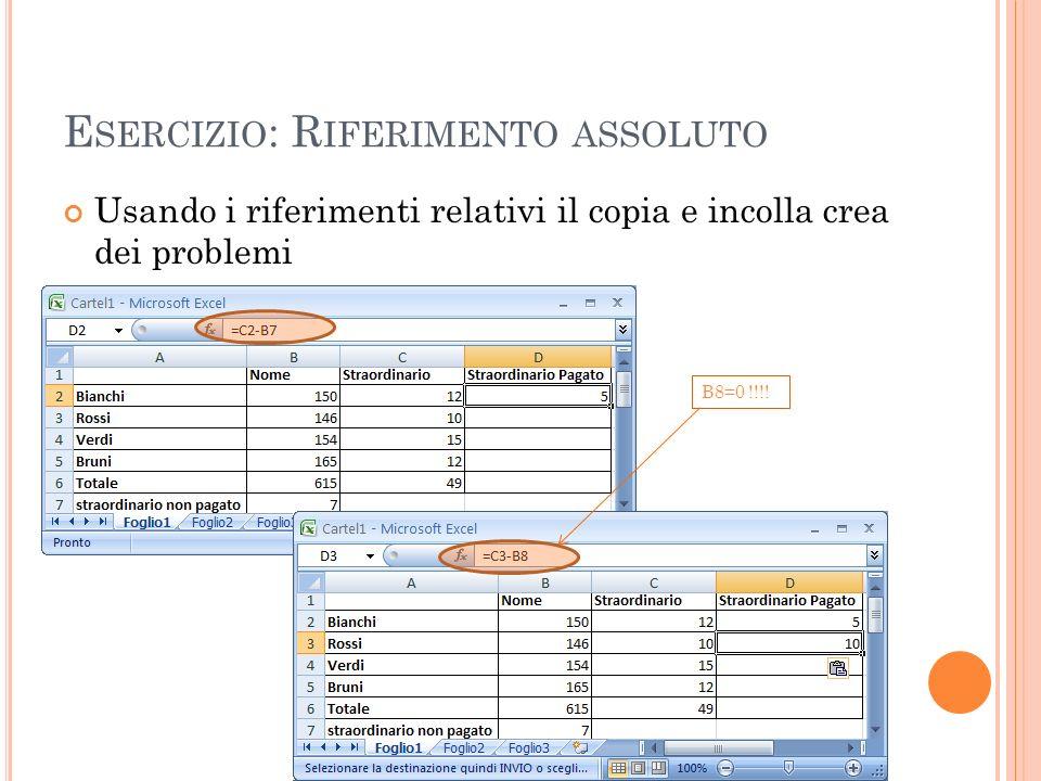 E SERCIZIO : R IFERIMENTO ASSOLUTO Usando i riferimenti relativi il copia e incolla crea dei problemi B8=0 !!!!
