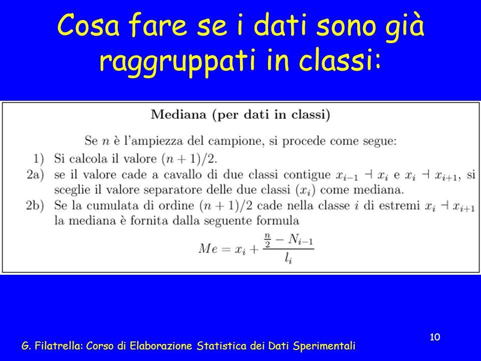 G. Filatrella: Corso di Elaborazione Statistica dei Dati Sperimentali 10 Cosa fare se i dati sono già raggruppati in classi: