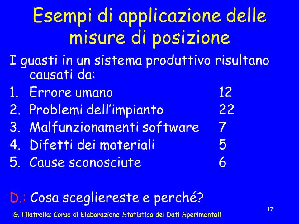 G. Filatrella: Corso di Elaborazione Statistica dei Dati Sperimentali 17 Esempi di applicazione delle misure di posizione I guasti in un sistema produ