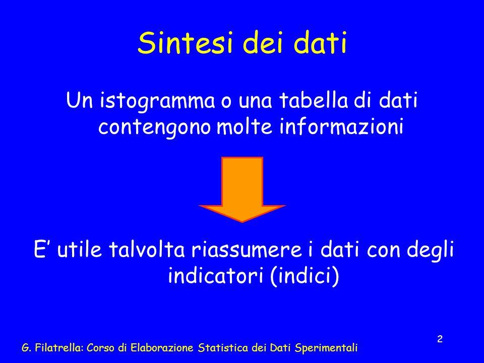 G. Filatrella: Corso di Elaborazione Statistica dei Dati Sperimentali 2 Sintesi dei dati Un istogramma o una tabella di dati contengono molte informaz