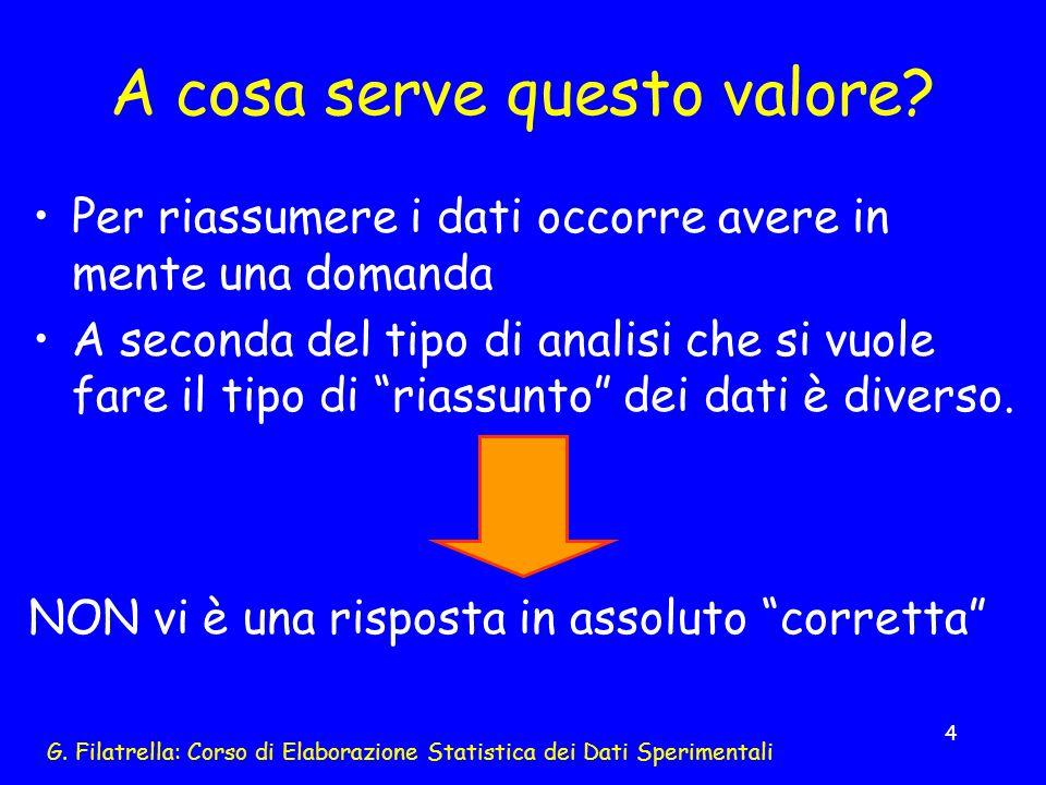 G. Filatrella: Corso di Elaborazione Statistica dei Dati Sperimentali 4 A cosa serve questo valore? Per riassumere i dati occorre avere in mente una d