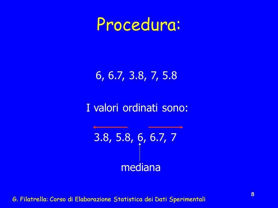 G. Filatrella: Corso di Elaborazione Statistica dei Dati Sperimentali 8 Procedura: I valori ordinati sono: 6, 6.7, 3.8, 7, 5.8 3.8, 5.8, 6, 6.7, 7 med