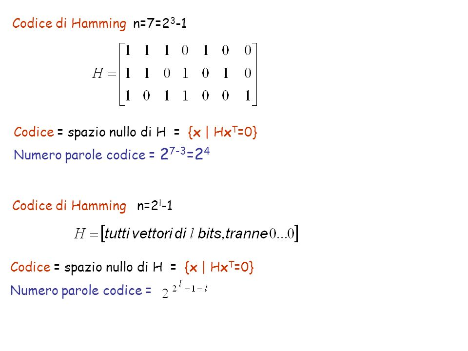 Codice di Hamming n=2 l -1 Codice = spazio nullo di H = {x | Hx T =0} Numero parole codice = 2 7-3 =2 4 Codice di Hamming n=7=2 3 -1 Codice = spazio n