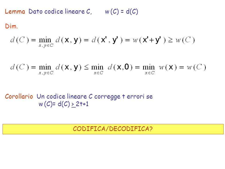 Lemma Dato codice lineare C, w (C) = d(C) Dim. Corollario Un codice lineare C corregge t errori se w (C)= d(C) > 2t+1 CODIFICA/DECODIFICA?