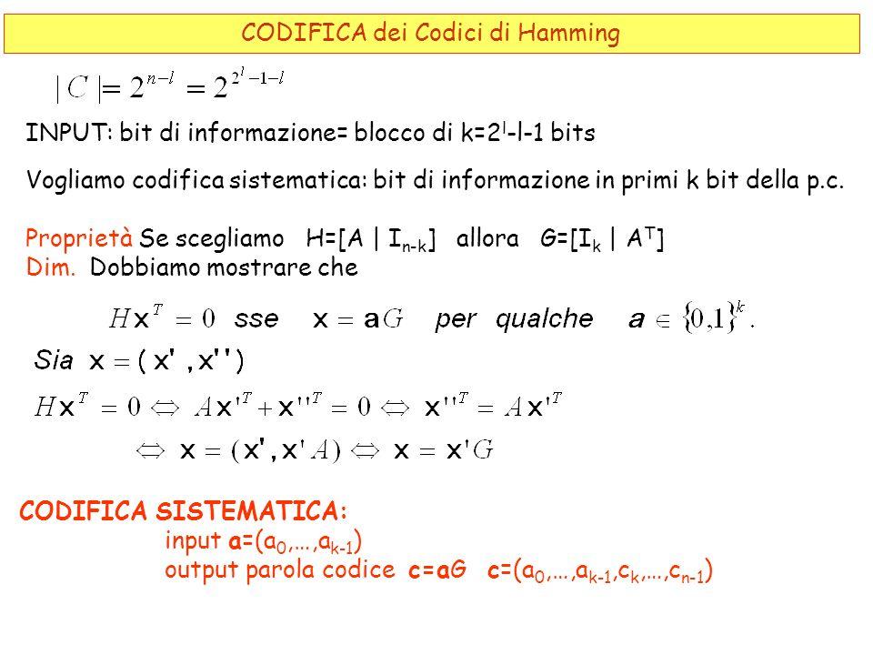 INPUT: bit di informazione= blocco di k=2 l -l-1 bits Vogliamo codifica sistematica: bit di informazione in primi k bit della p.c. Proprietà Se scegli