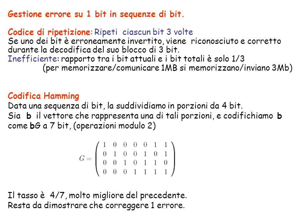 Gestione errore su 1 bit in sequenze di bit. Codice di ripetizione: Ripeti ciascun bit 3 volte Se uno dei bit è erroneamente invertito, viene riconosc