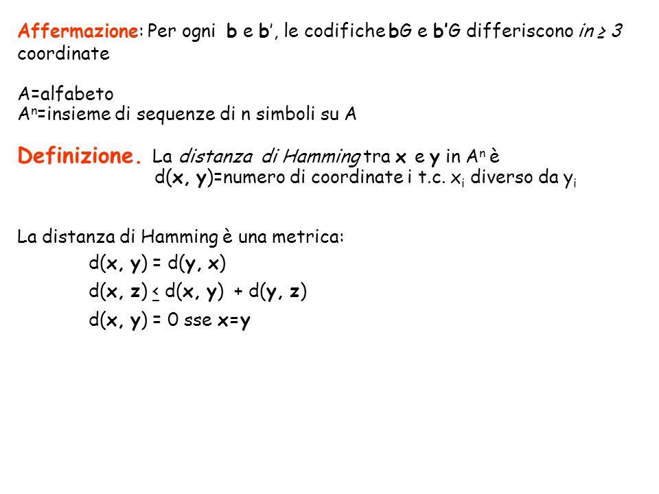 Affermazione: Per ogni b e b, le codifiche bG e bG differiscono in 3 coordinate A=alfabeto A n =insieme di sequenze di n simboli su A Definizione. La