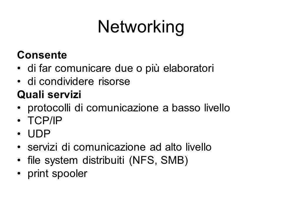 Networking Consente di far comunicare due o più elaboratori di condividere risorse Quali servizi protocolli di comunicazione a basso livello TCP/IP UD