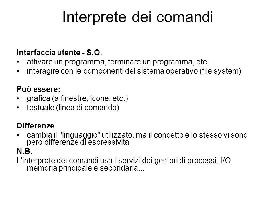 Interprete dei comandi Interfaccia utente - S.O. attivare un programma, terminare un programma, etc. interagire con le componenti del sistema operativ