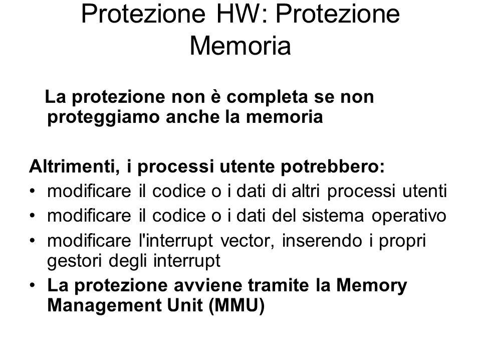 Protezione HW: Protezione Memoria La protezione non è completa se non proteggiamo anche la memoria Altrimenti, i processi utente potrebbero: modificar