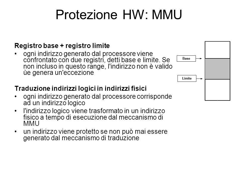 Protezione HW: MMU Registro base + registro limite ogni indirizzo generato dal processore viene confrontato con due registri, detti base e limite. Se