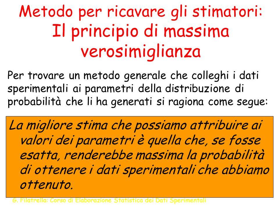G. Filatrella: Corso di Elaborazione Statistica dei Dati Sperimentali 10 Metodo per ricavare gli stimatori: Il principio di massima verosimiglianza La