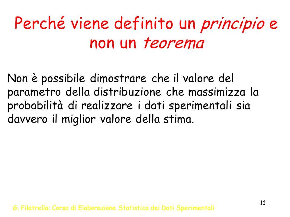 G. Filatrella: Corso di Elaborazione Statistica dei Dati Sperimentali 11 Perché viene definito un principio e non un teorema Non è possibile dimostrar