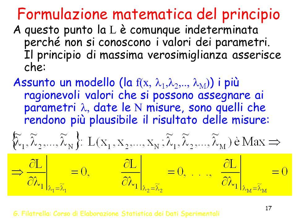 G. Filatrella: Corso di Elaborazione Statistica dei Dati Sperimentali 17 Formulazione matematica del principio A questo punto la L è comunque indeterm