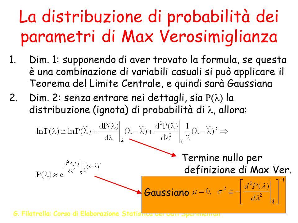G. Filatrella: Corso di Elaborazione Statistica dei Dati Sperimentali 20 La distribuzione di probabilità dei parametri di Max Verosimiglianza 1.Dim. 1