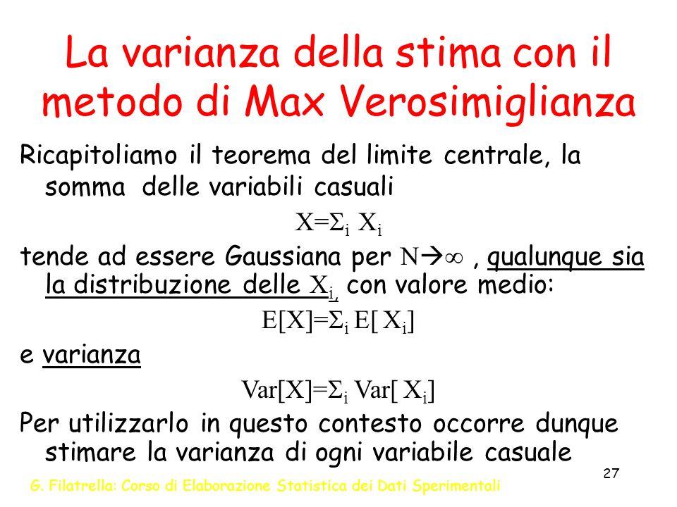 G. Filatrella: Corso di Elaborazione Statistica dei Dati Sperimentali 27 La varianza della stima con il metodo di Max Verosimiglianza Ricapitoliamo il