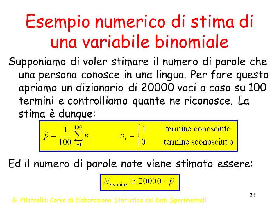 G. Filatrella: Corso di Elaborazione Statistica dei Dati Sperimentali 31 Esempio numerico di stima di una variabile binomiale Supponiamo di voler stim