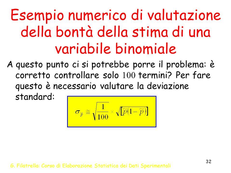 G. Filatrella: Corso di Elaborazione Statistica dei Dati Sperimentali 32 Esempio numerico di valutazione della bontà della stima di una variabile bino