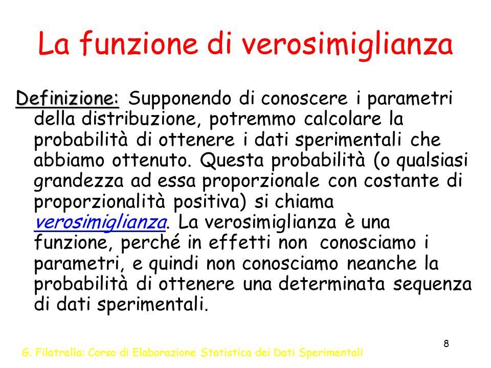 G. Filatrella: Corso di Elaborazione Statistica dei Dati Sperimentali 8 La funzione di verosimiglianza Definizione: Definizione: Supponendo di conosce