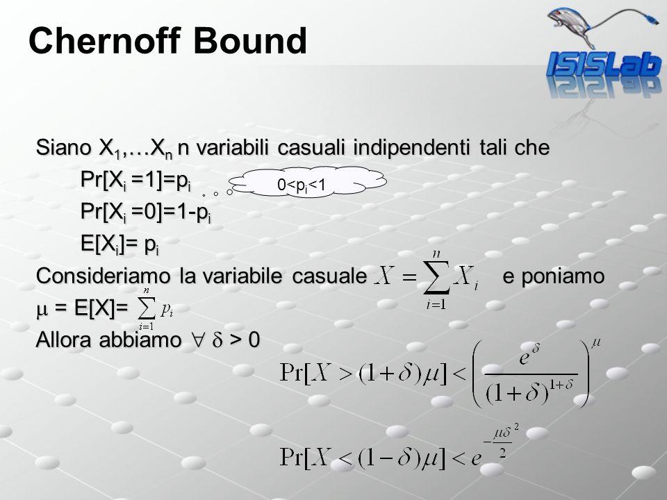 Chernoff Bound Siano X 1,…X n n variabili casuali indipendenti tali che Pr[X i =1]=p i Pr[X i =0]=1-p i E[X i ]= p i Consideriamo la variabile casuale e poniamo = E[X]= = E[X]= Allora abbiamo > 0 0<p i <1