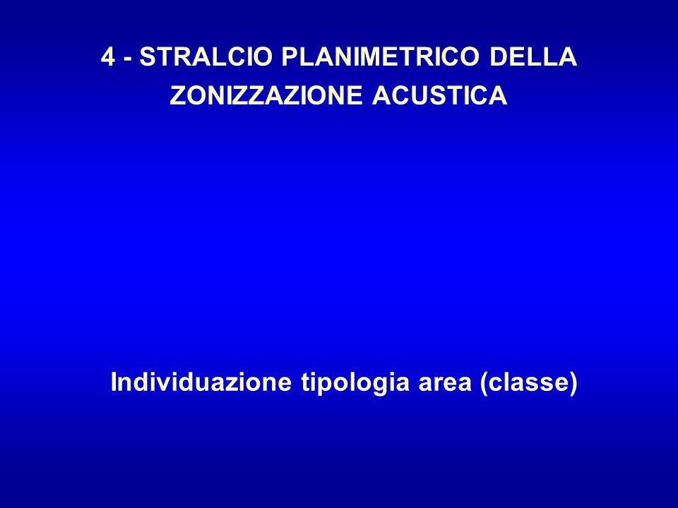 4 - STRALCIO PLANIMETRICO DELLA ZONIZZAZIONE ACUSTICA Individuazione tipologia area (classe)