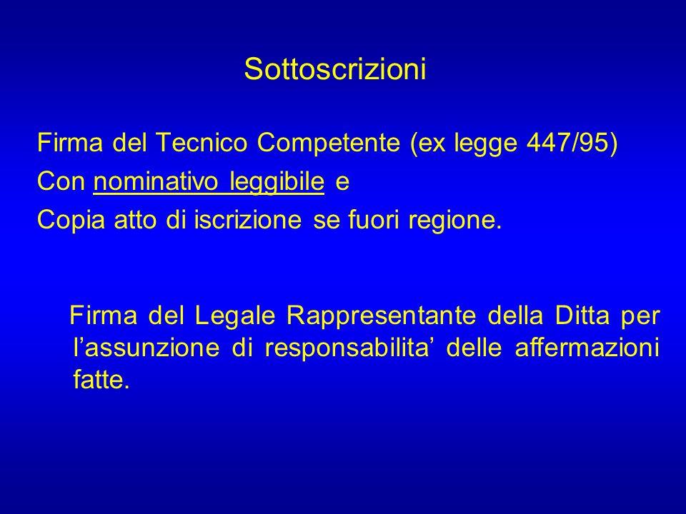 Firma del Tecnico Competente (ex legge 447/95) Con nominativo leggibile e Copia atto di iscrizione se fuori regione.