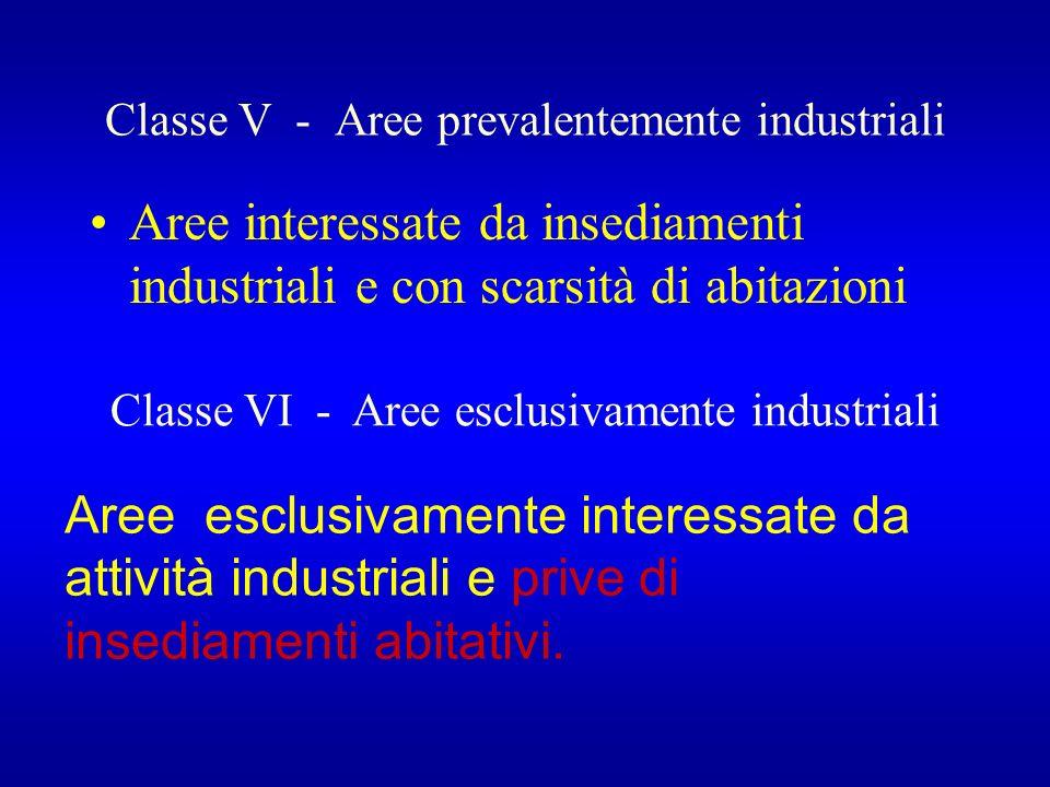Classe V - Aree prevalentemente industriali Aree interessate da insediamenti industriali e con scarsità di abitazioni Classe VI - Aree esclusivamente industriali Aree esclusivamente interessate da attività industriali e prive di insediamenti abitativi.