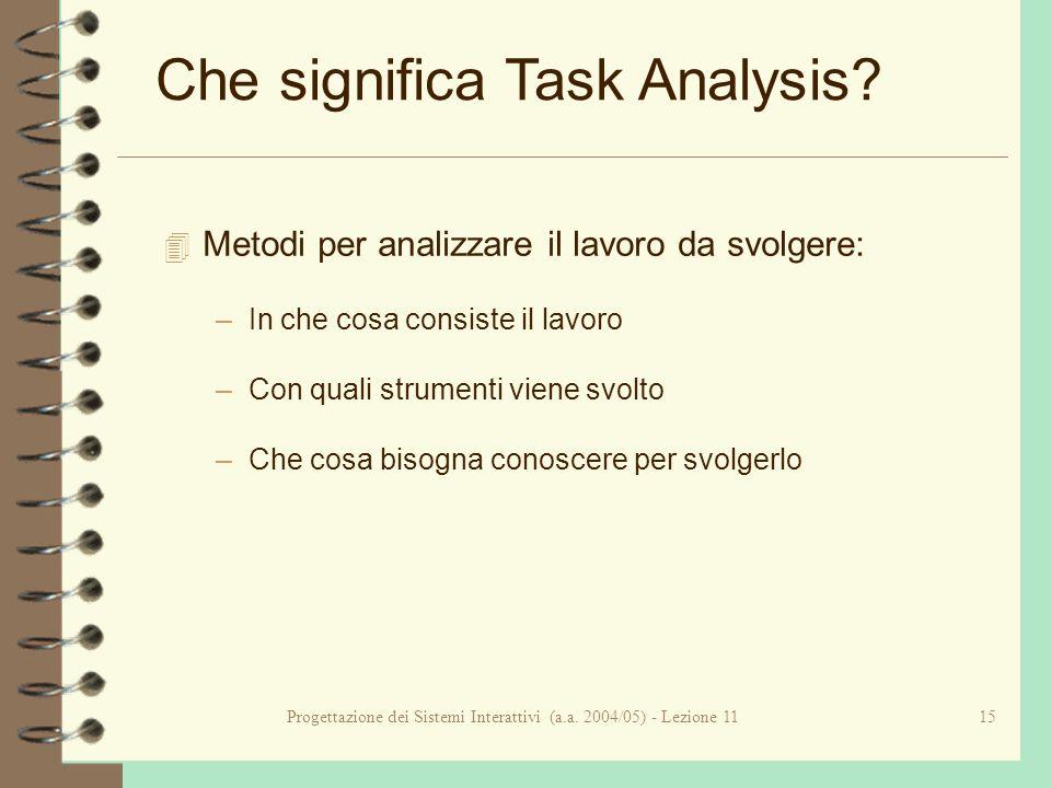 Progettazione dei Sistemi Interattivi (a.a. 2004/05) - Lezione 1115 Che significa Task Analysis.