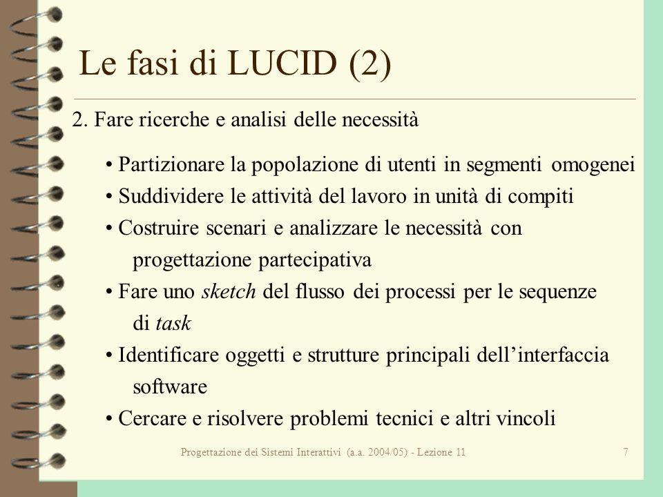 Progettazione dei Sistemi Interattivi (a.a. 2004/05) - Lezione 117 Le fasi di LUCID (2) 2.