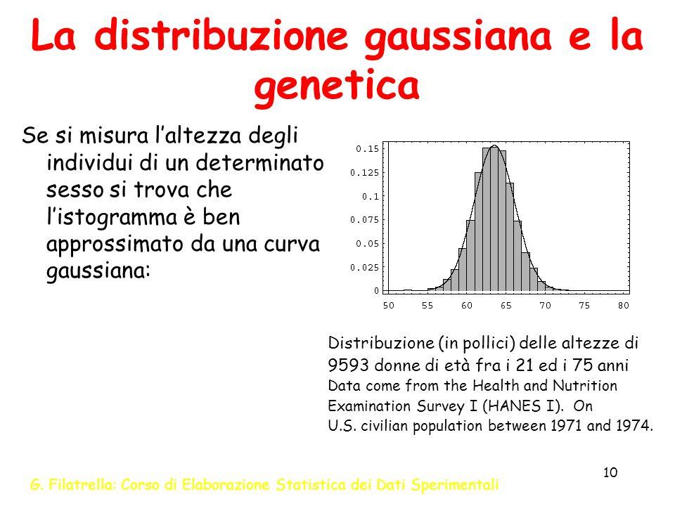 G. Filatrella: Corso di Elaborazione Statistica dei Dati Sperimentali 10 La distribuzione gaussiana e la genetica Se si misura laltezza degli individu
