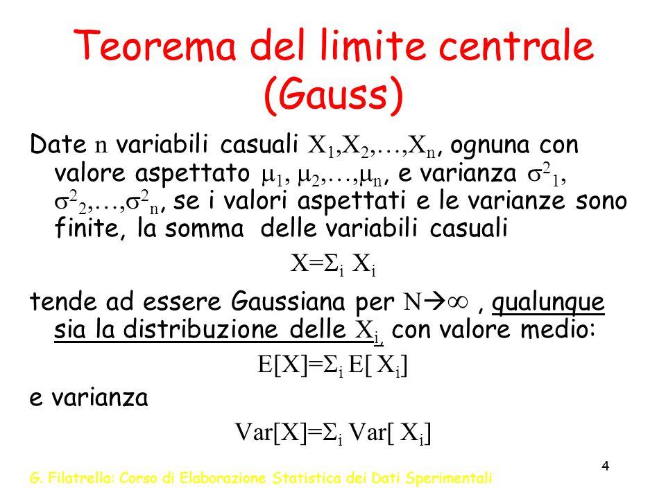 G. Filatrella: Corso di Elaborazione Statistica dei Dati Sperimentali 4 Teorema del limite centrale (Gauss) Date n variabili casuali X 1,X 2,…,X n, og