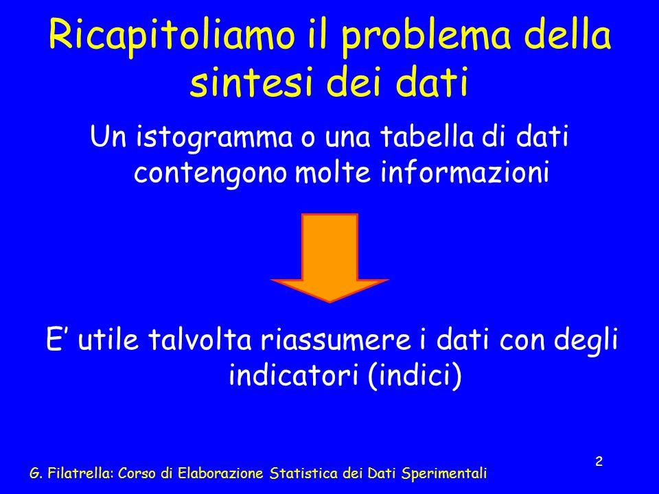 G. Filatrella: Corso di Elaborazione Statistica dei Dati Sperimentali 2 Ricapitoliamo il problema della sintesi dei dati Un istogramma o una tabella d