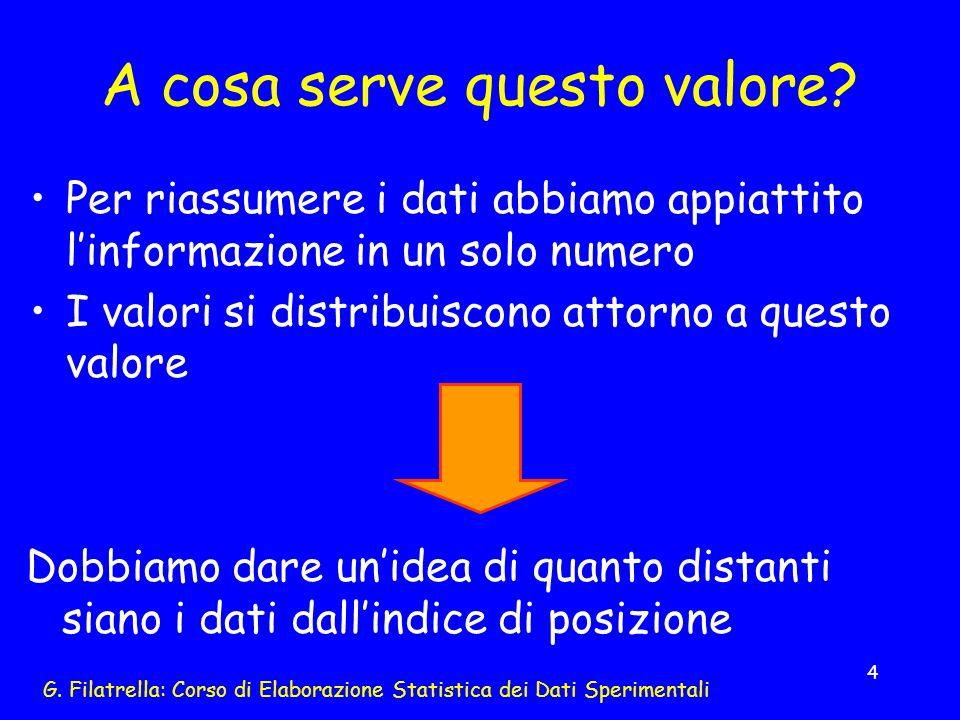 G. Filatrella: Corso di Elaborazione Statistica dei Dati Sperimentali 4 A cosa serve questo valore? Per riassumere i dati abbiamo appiattito linformaz