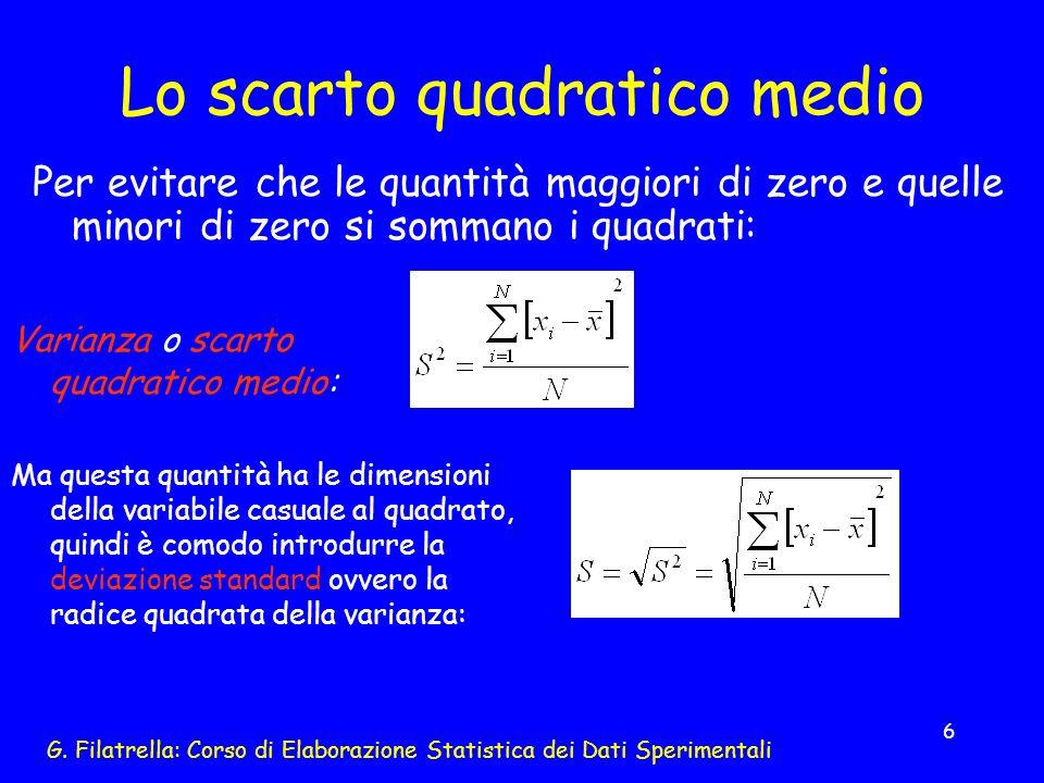 G. Filatrella: Corso di Elaborazione Statistica dei Dati Sperimentali 6 Lo scarto quadratico medio Per evitare che le quantità maggiori di zero e quel