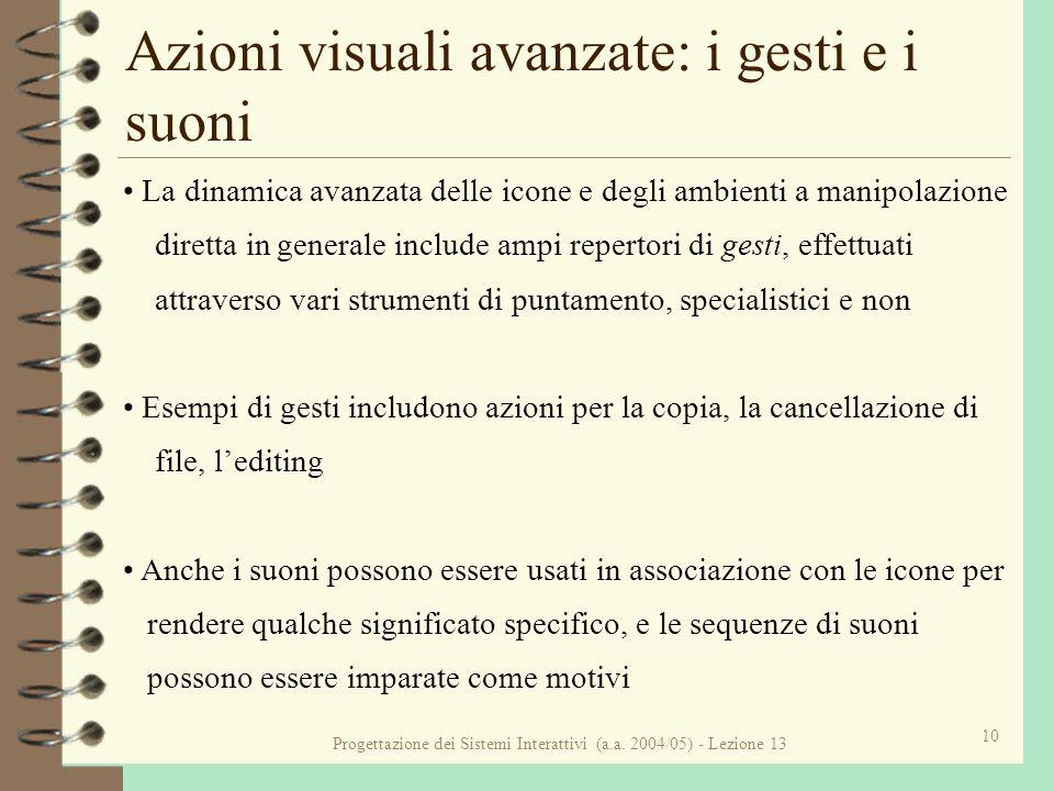 Progettazione dei Sistemi Interattivi (a.a. 2004/05) - Lezione 13 10 Azioni visuali avanzate: i gesti e i suoni La dinamica avanzata delle icone e deg