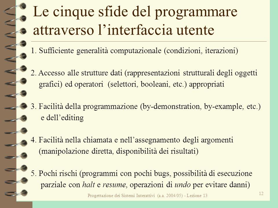 Progettazione dei Sistemi Interattivi (a.a. 2004/05) - Lezione 13 12 Le cinque sfide del programmare attraverso linterfaccia utente 1. Sufficiente gen