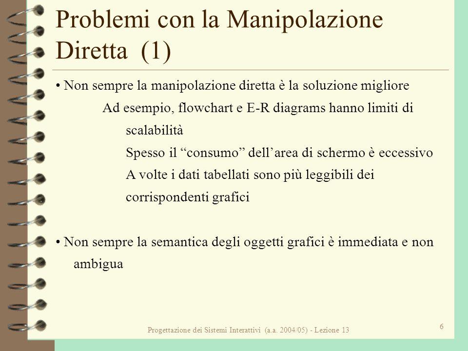Progettazione dei Sistemi Interattivi (a.a. 2004/05) - Lezione 13 6 Problemi con la Manipolazione Diretta (1) Non sempre la manipolazione diretta è la