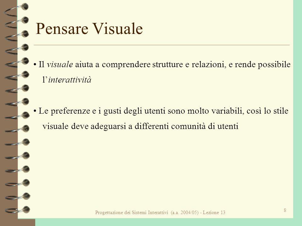Progettazione dei Sistemi Interattivi (a.a. 2004/05) - Lezione 13 8 Pensare Visuale Il visuale aiuta a comprendere strutture e relazioni, e rende poss