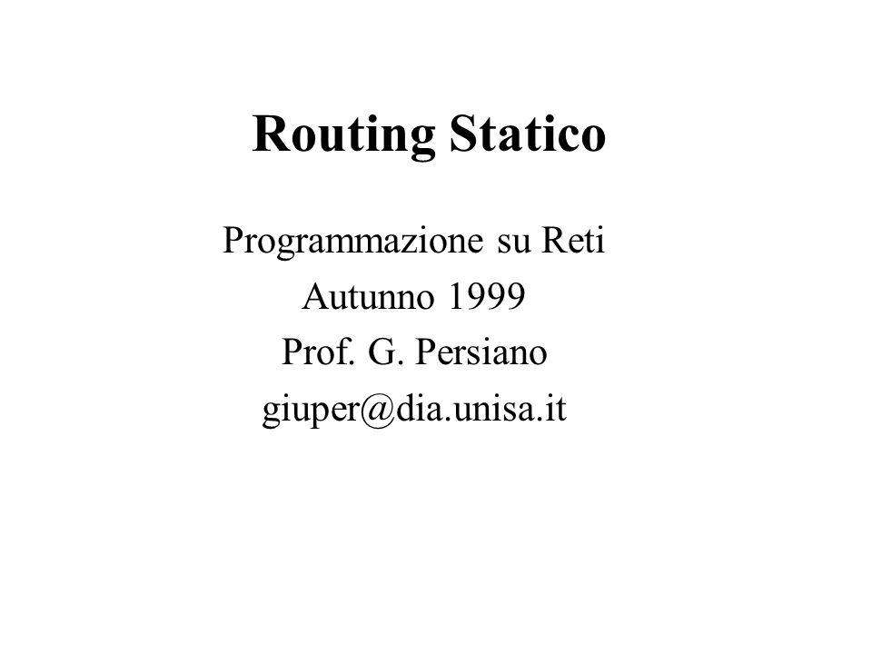 Routing Statico Programmazione su Reti Autunno 1999 Prof. G. Persiano giuper@dia.unisa.it